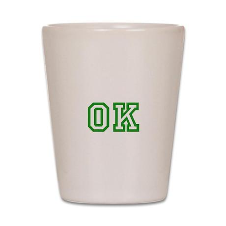 green OK Shot Glass