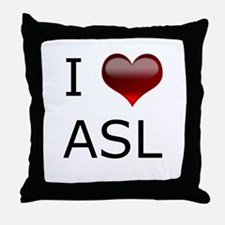 I <3 ASL Throw Pillow