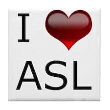 I <3 ASL Tile Coaster