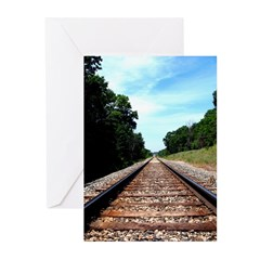 .railroad tracks. color Greeting Cards (Pk of 20)