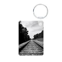 .railroad tracks. b&w Keychains