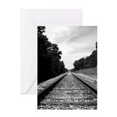 .railroad tracks. b&w Greeting Card