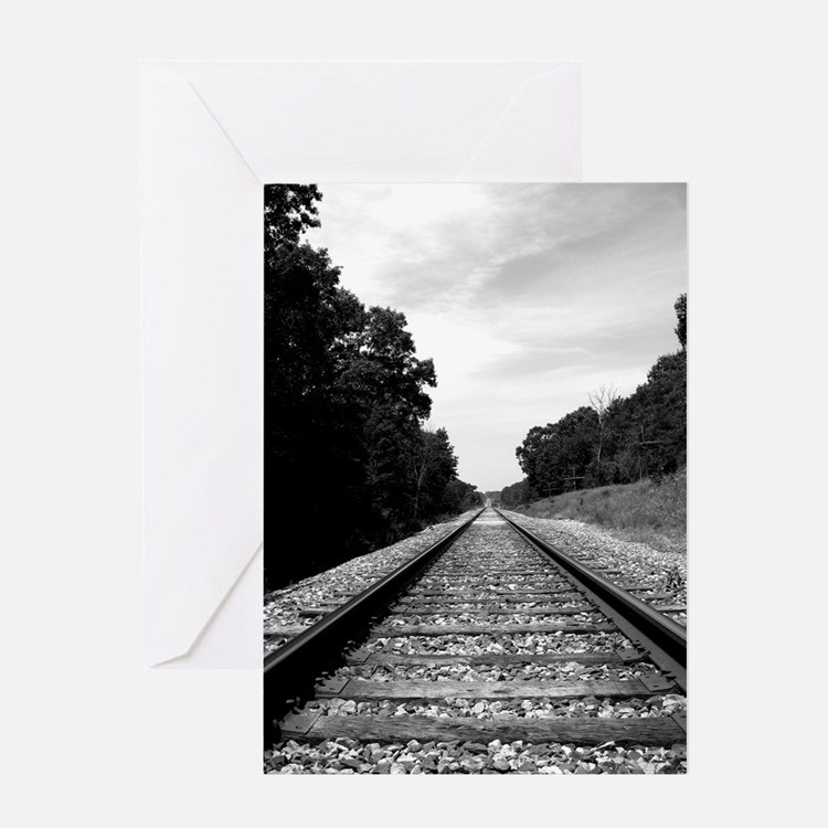 .railroad tracks. b&w Greeting Card
