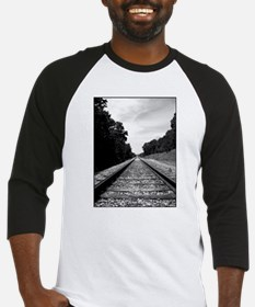 .railroad tracks. b&w Baseball Jersey