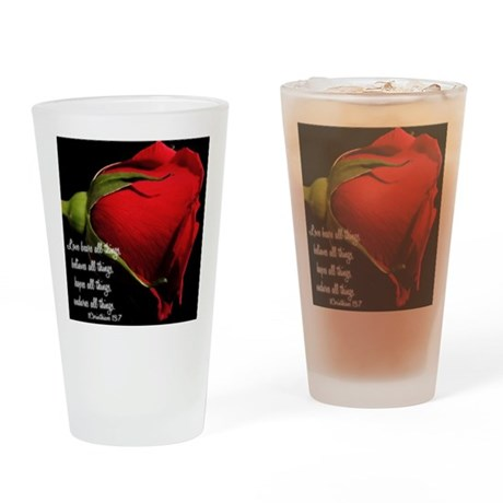1 Corinthians 13/ Rose Drinking Glass