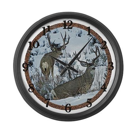Mature Mule deer bucks Large Wall Clock