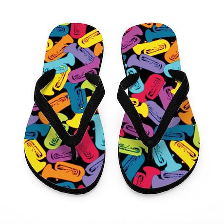 Colorful Tubas Flip Flops