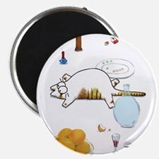 """Fat Cat on Table 2.25"""" Magnet (10 pack)"""