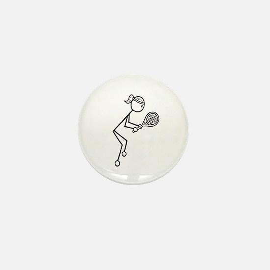 Tennis Girl Black Mini Button