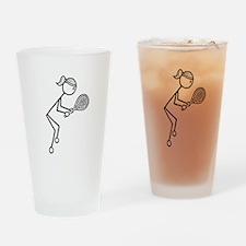 Tennis Girl Black Drinking Glass