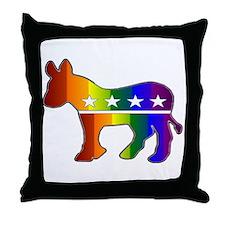 Rainbow Donkey Throw Pillow