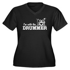 I'm With The Drummer Women's Plus Size V-Neck Dark