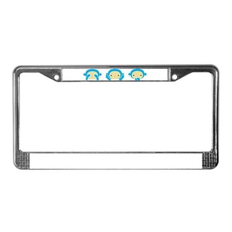 3 Wise Monkeys License Plate Frame