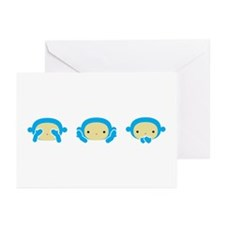 3 Wise Monkeys Greeting Cards (Pk of 10)
