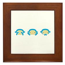 3 Wise Monkeys Framed Tile