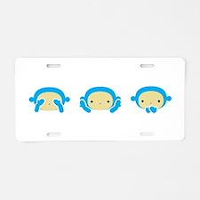 3 Wise Monkeys Aluminum License Plate