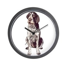 german wirehaired Pointer sit Wall Clock