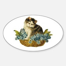 Victorian Kitten in Basket Oval Decal