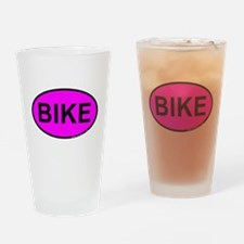 Pink BIKE Oval Drinking Glass
