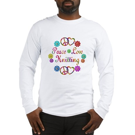 Peace Love Knitting Long Sleeve T-Shirt