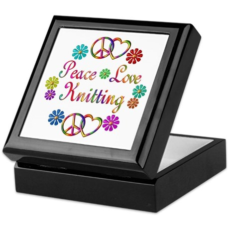 Peace Love Knitting Keepsake Box
