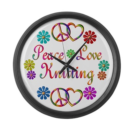 Peace Love Knitting Large Wall Clock