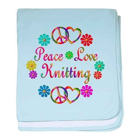Peace Love Knitting baby blanket