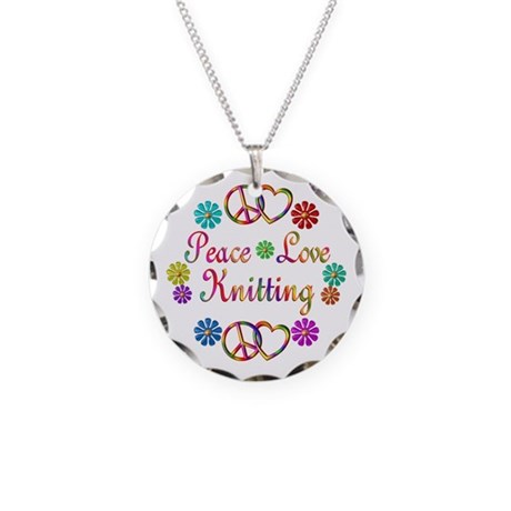Peace Love Knitting Necklace Circle Charm