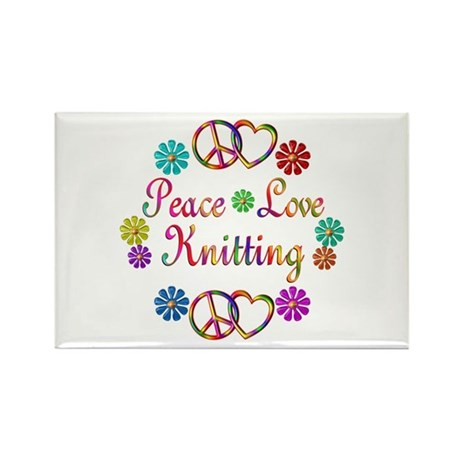 Peace Love Knitting Rectangle Magnet (10 pack)