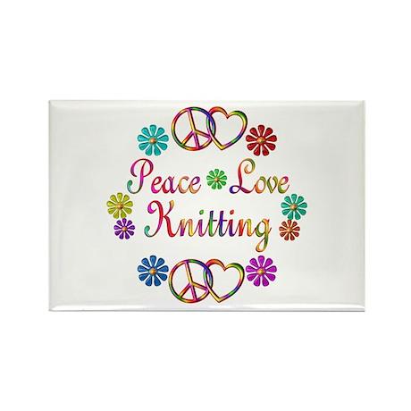 Peace Love Knitting Rectangle Magnet (100 pack)