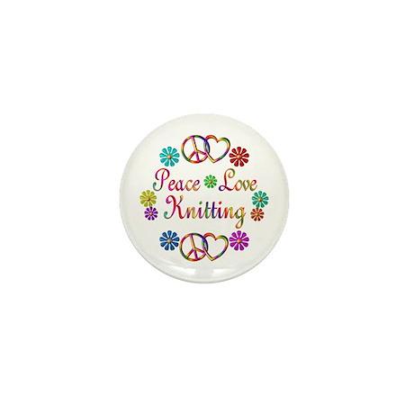 Peace Love Knitting Mini Button (10 pack)