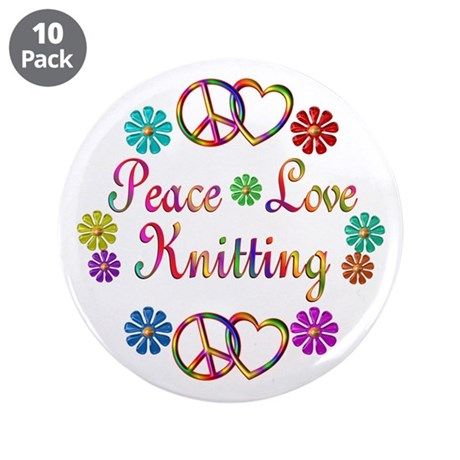 """Peace Love Knitting 3.5"""" Button (10 pack)"""