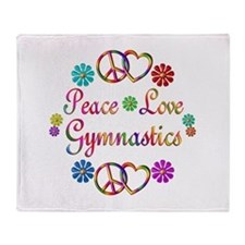 Peace Love Gymnastics Throw Blanket