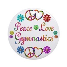 Peace Love Gymnastics Ornament (Round)