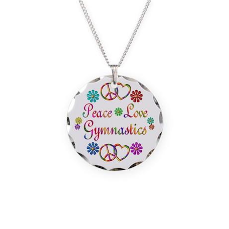 Peace Love Gymnastics Necklace Circle Charm