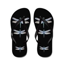 dragonflies on black Flip Flops