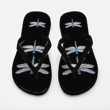dragonflies on black Flip Flops