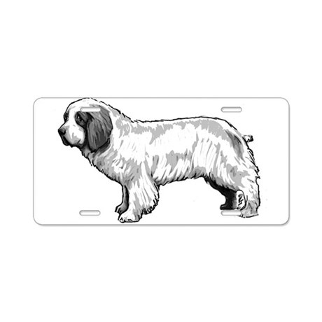 Clumber Spaniel Black and Whi Aluminum License Pla