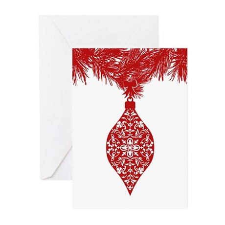 Red Damask Ornament Greeting Cards (Pk of 10)