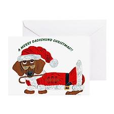 A Merry Dachshund Christmas Candy Cane Santa Greet