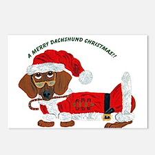 A Merry Dachshund Christmas Candy Cane Santa Postc