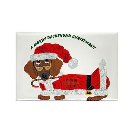 A Merry Dachshund Christmas Candy Cane Santa Recta