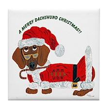 A Merry Dachshund Christmas Candy Cane Santa Tile