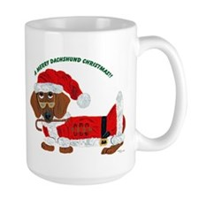 A Merry Dachshund Christmas Candy Cane Santa Mug