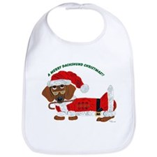 A Merry Dachshund Christmas Candy Cane Santa Bib