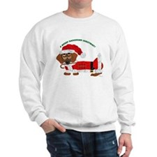 A Merry Dachshund Christmas Candy Cane Santa Sweat