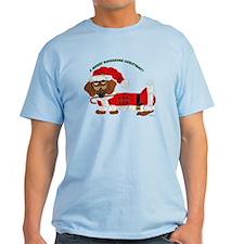 A Merry Dachshund Christmas Candy Cane Santa T-Shirt