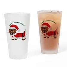 A Merry Dachshund Christmas Candy Cane Santa Drink