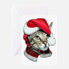 Cute Santa Cat Greeting Card