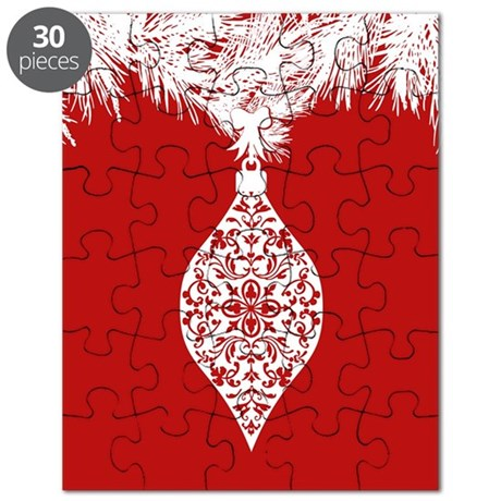 Red And White Damask Ornament Puzzle